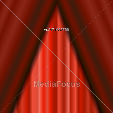 Cinema Closed Red Curtain. Red Textile Pattern. Cinema Stage Stock Photo