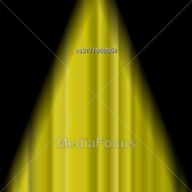 Cinema Closed Yellow Curtain. Yellow Textile Pattern. Cinema Stage Stock Photo