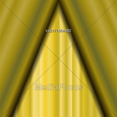 Cinema Closed Yellow Curtain. Yellow Textile Pattern. Cinema Stage Stock Photo