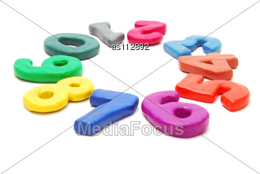 Circle Of Colored Random Digits Laying Stock Photo