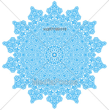 Circle Lace Ornament, Round Ornamental Geometric Doily Pattern Stock Photo