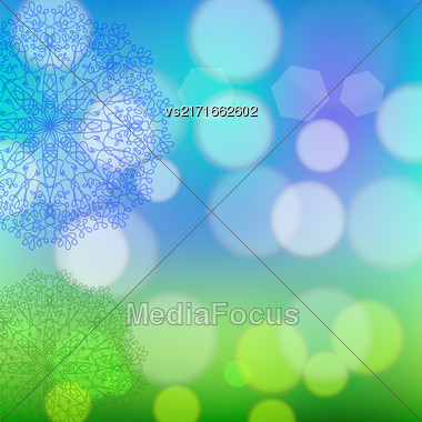 Circle Lace Ornament, Round Ornamental Geometric Doily Pattern, Christmas Snowflake Decoration On Blurred Background Stock Photo