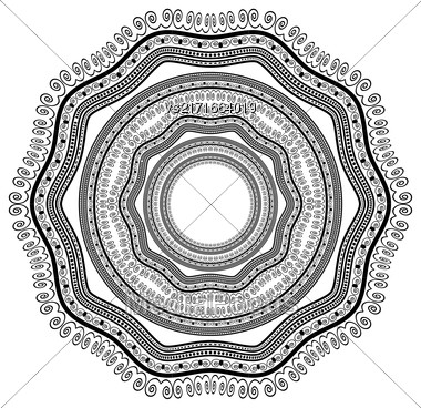 Circle Lace Ornament, Round Ornamental Geometric Doily Pattern, Christmas Snowflake Decoration Stock Photo