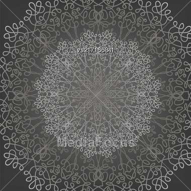 Circle Lace Ornament, Round Ornamental Geometric Doily Pattern, Christmas Snowflake Decoration Stock Photo