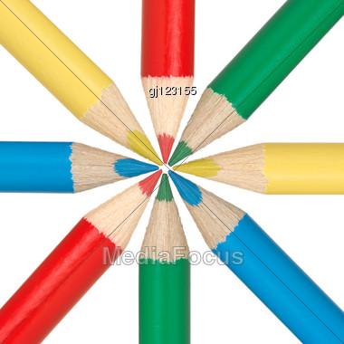 Circle Of Multicolored Pencils Stock Photo