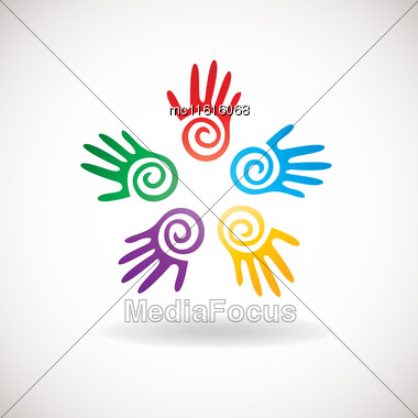 Circle Shape From Bright Hands Together. Abstract Logo For Kindergarden, Charity, Health Or Medical Center Stock Photo