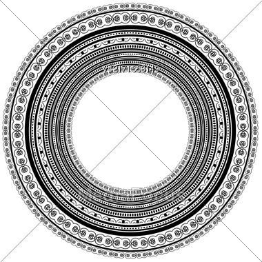 Circle Vintage Frame Isolated On White Background Stock Photo