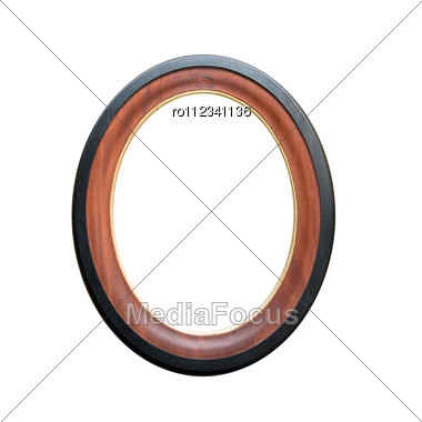 Circle Wooden Frame Isolated Stock Photo