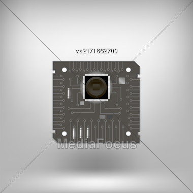 Circuit Isolated On Soft Gray Background. Part Of Computer Stock Photo