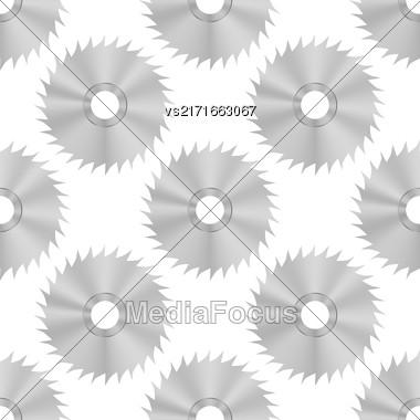 Circular Saw Steel Disc Seamless Pattern On White Background Stock Photo