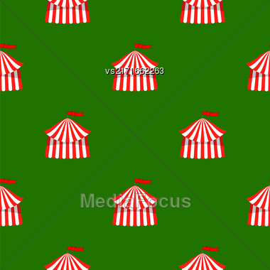 Circus Icon Seamless Pattern On Green Background Stock Photo