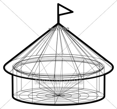 Circus Tent In Wireframe Form. Vector Illustration On White Background Stock Photo
