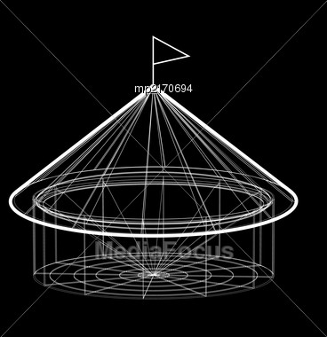 Circus Tent In Wireframe Form. Vector Illustration On Black Background Stock Photo