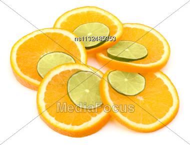 Citrus Fruit Slices Isolated On White Background Stock Photo