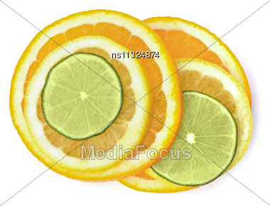Citrus Fruit Slices Isolated On White Background Stock Photo