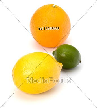 Citrus Fruits Isolated On White Background Stock Photo