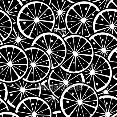 Citrus Slice Background, Seamless Pattern In Black And White Stock Photo