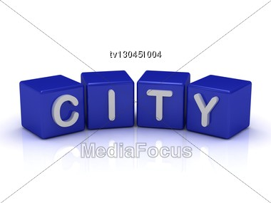 CITY Word On Blue Cubes Stock Photo