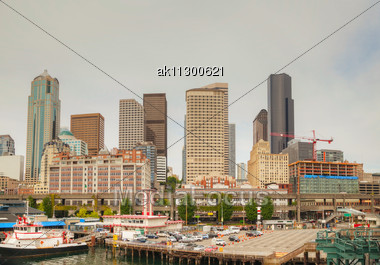 Cityscape Of Seattle As Seen From The Bay Stock Photo