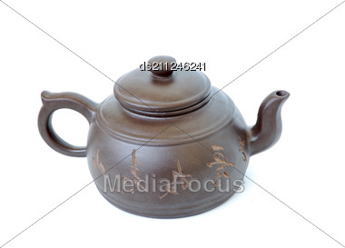 Classic Chinese Teapot Of The Brown Clay Stock Photo