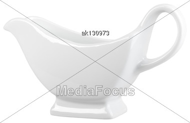 Classic Design A Clean Sauceboat. Isolated On White Background. Close-up. Studio Photography Stock Photo