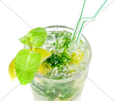 Classic Mojito Alcohol Fresh Cocktail Closeup Isolated On A White Stock Photo