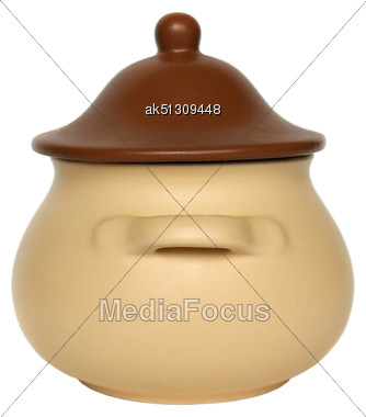 Clay Pot With Cover Isolated On White Stock Photo