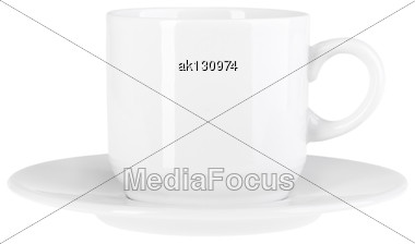 Clean Cup And Saucer Of Modern-design. Isolated On White Background. Close-up. Studio Photography Stock Photo