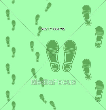 Clean Shoe Imprints Seamless Pattern Isolated On Green Background Stock Photo