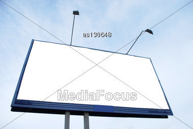 Clear Advertisement Billboard On Sky Background Stock Photo