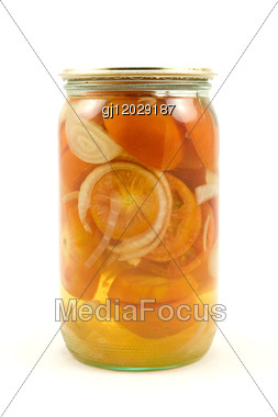 Clear Glass Jar Of Pickled Tomatoes Stock Photo