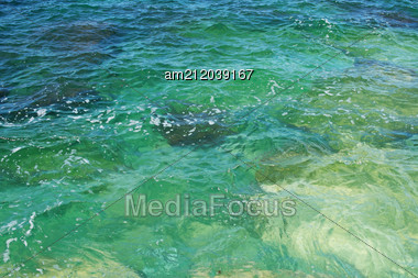 Clear Sea Water, The View From The Top. Stock Photo