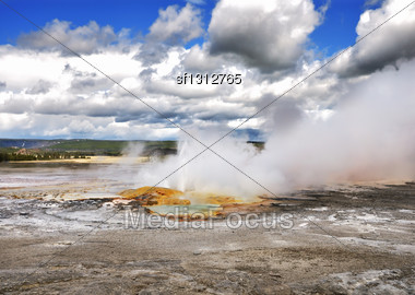 Clepsydra Geyser Located In The Fountain Paint Pot Area Of Yellowstone Stock Photo