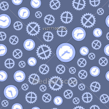 Clock And Gear Seamless Pattern Isolated On Blue Background Stock Photo
