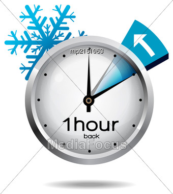 Clock Switch To Winter Time. Vector Illustration With Snowflake Icon On White Background Stock Photo
