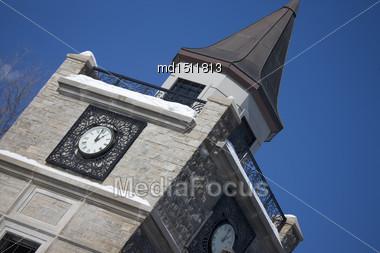 Clock Tower In Niagara Falls Canada Daytime Stock Photo