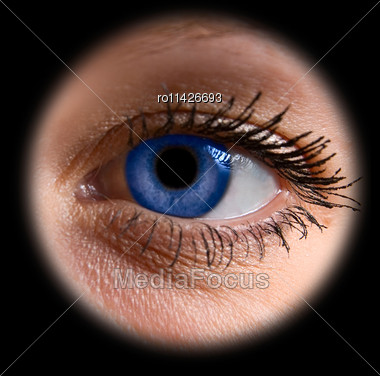 Close Up Of A Blue Woman Eye On Black Stock Photo
