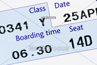 Close-up Of Boarding Pass,with Time And Seat Stock Photo