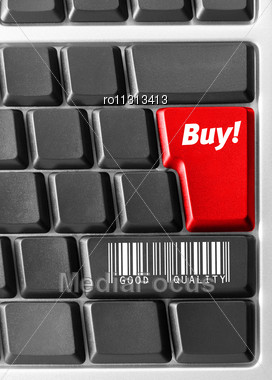 """Close-up Of Computer Keyboard With Blue """"Buy"""" Key Stock Photo"""