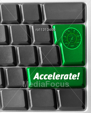 "Close-up Of Computer Keyboard, With Green ""Accelerate"" Key Stock Photo"