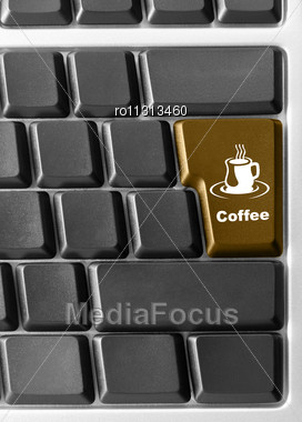 "Close-up Of Computer Keyboard With Red ""Coffee"" Key Stock Photo"