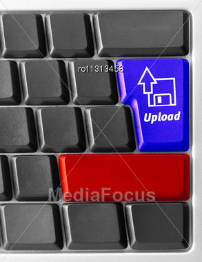 "Close-up Of Computer Keyboard With ""Upload"" Key Stock Photo"