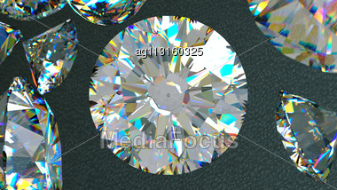 Close Up Of A Diamonds Flow Over Leather Background. Large Resolution Stock Photo