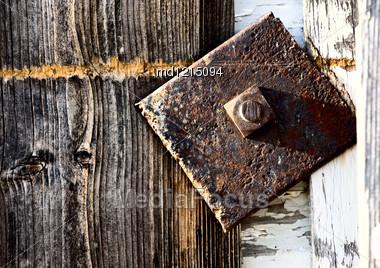 Close Up Door Latch Barn Canada Saskatchewan Stock Photo