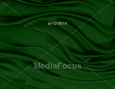 close up of green silk textured cloth Stock Photo