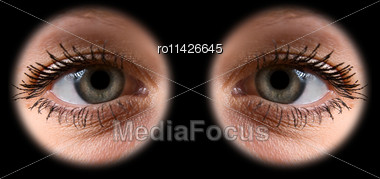 Close Up Of A Grey Woman Eyes On Black Stock Photo