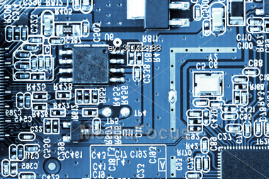 Close-up Of Electronic Circuit Board. Macro Stock Photo