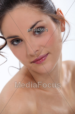 Close-up Of Nude Brunette Stock Photo