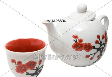 Close-up Off Tea-things In Asian Style With Flowers. Isolated On White Stock Photo