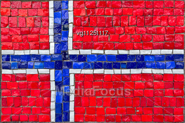 Close Up Of Old Vintage Mosaic Flag Of Norway With Texture Stock Photo